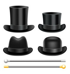 Hats and walking sticks vector