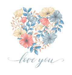 heart flowers card vector image