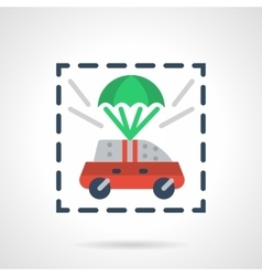 Insured car flat color design icon vector
