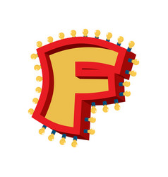 Letter f lamp glowing font vintage light bulb vector