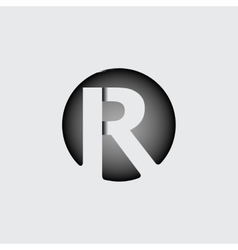Letter R Made of wide white stripes vector image