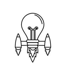 Line bulb with thrusters to creative idea vector