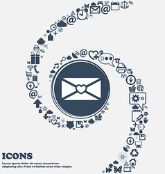 Love letter sign icon in the center around the vector