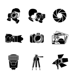 Photographer monochrome icons set with - shutter vector image