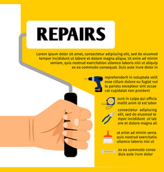 repair tools poster design vector image vector image