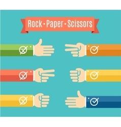 Rock paper scissor hand game vector