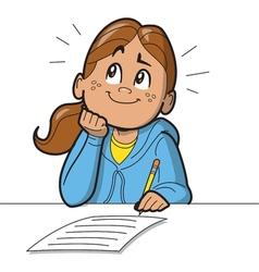 Schoolgirl taking test vector