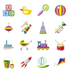 Set kids toys icons isolated vector image vector image