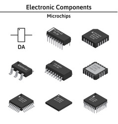 set of izometric electronic components vector image vector image
