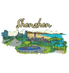 shenzhen doodles vector image vector image