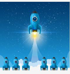 Space leader rocket launch creative idea vector