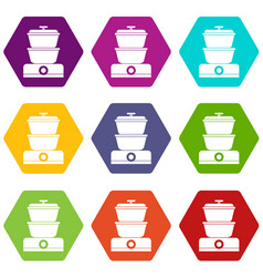 Steamer icon set color hexahedron vector
