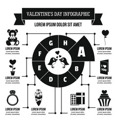 Valentine day infographic concept simple style vector