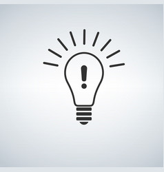 warning light bulb design exclamation mark vector image
