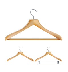 Wooden clothes hangers set for jackets vector