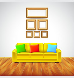 Interior room with yellow sofa and colorful vector