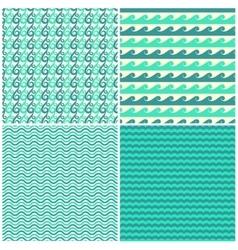 Set of aqua green waves seamless patterns vector image