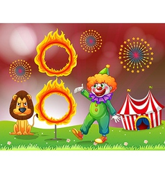 A carnival with a clown and a lion near the ring vector