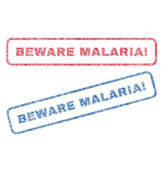 Beware malaria exclamation textile stamps vector