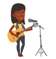 Woman singing in microphone and playing guitar vector