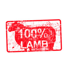 100 per cent lamb - red rubber dirty grungy stamp vector