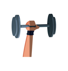Hand holding weight hard gym fitness vector