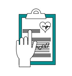 Hand pointing medical history on clipboard vector