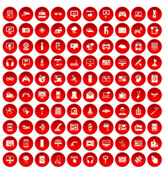 100 software icons set red vector