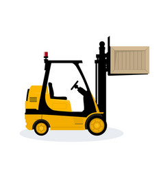 Yellow forklift lifted the box up vector