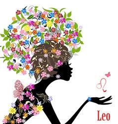 Zodiac sign leo fashion girl vector