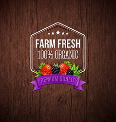 Farm fresh poster wooden background typography vector