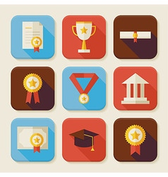 Flat graduation and success squared app icons set vector