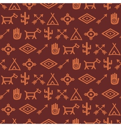 Seamless background with native american symbols vector