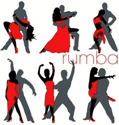 rumba dancers set vector image