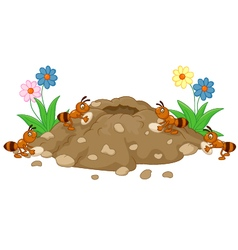 Anthill in the forest land vector