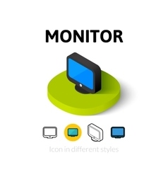 Monitor icon in different style vector