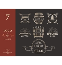Vintage craft beer brewery logo and badge vector