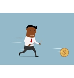Cartoon businessman chases golden dollar coin vector