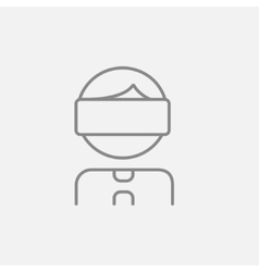 Man wearing virtual reality headset line icon vector