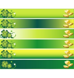 St patricks day banner set with leafs and money vector
