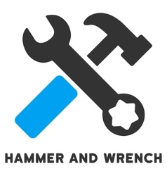 Hammer and wrench flat icon with caption vector
