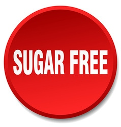Sugar free red round flat isolated push button vector
