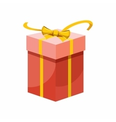 Red gift box with yellow ribbon icon vector