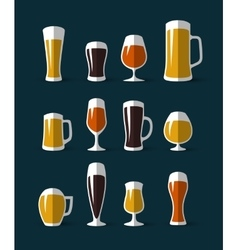 Beer glasses icons set vector