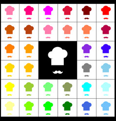 chef hat and moustache sign felt-pen 33 vector image