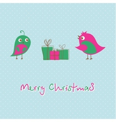 Christmas greeting card with birds on the tree vector