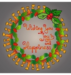 Christmas wreath handwritten words wishing you vector