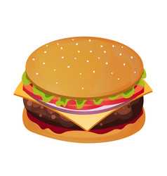 delicious burger fast food restaurant vector image