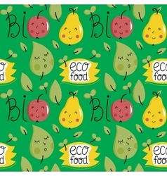 Eco food seamless pattern with fruit characters vector