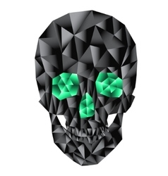 Geometric skull with emerald eyes vector image
